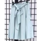 Įspūdingas moteriškas lino/viskozės sijonas TAHO melsvas su taškiukais