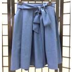 Impressive female linenviscose blue skirt TAHO