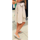 Įspūdingas moteriškas lino/viskozės kūno spalvos sijonas TAHO