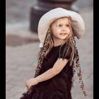Įspūdinga vaikiška minkštinto lino skrybėlė HAT su šilkiniais kaspinais