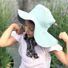 Įspūdinga vaikiška minkštinto lino skrybėlė HAT su šilkiniais kaspinais Mėta
