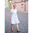 Įspūdinga lino/viskozės moteriška suknelė su dirželiu LISABONA Balta