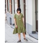 Įspūdinga lino/viskozės moteriška suknelė LISABONA Pistacijos