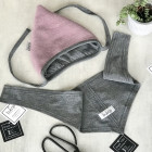 Kids mohera wool beanie with straps for autumn/winter DROP ash rose/ light grey inside