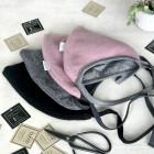 Vaikiška moheros vilnos kepurė su raišteliais rudeniui/žiemai DROP pelenų rožė
