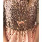 Vaikiškas metalinis pakabukas Vienaragis su sendinta, prabangiai atrodančia grandinėle, rožinis