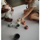 Mushie žaislas vaikams dėliojamieji puodeliai, pastelinių spalvų