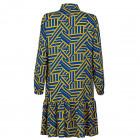 Įspūdinga moteriška raštuota suknelė su dirželiu BARSELONA geltonai/mėlynai raštuota