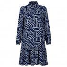 Įspūdinga moteriška raštuota suknelė su dirželiu BARSELONA mėlynai/baltai raštuota