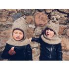 Stilingas patogus HELMET rudeninis žieminis alpakos vilnos šalmukas Smėlio pynutės