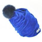 SCREW POMPOM dviguba veliūrinė kepurė rugiagėlė su kailio bumbulu
