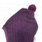 Stilinga patogi HELMET rudeninė žieminė vilnonė kepurė - šalmukas baklažanas Šachmatai