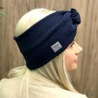 Woman headband KNOT of elastic knitted fabric for spring / autumn / winter, Dark blue