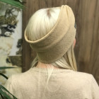 Woman headband KNOT of elastic knitted fabric for spring / autumn / winter, Chaki