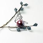 Female stylish elegant ceramic pendant on a luxurious chain BALI eggplant