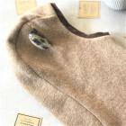 Stylish fall winter egyptian wool kids HELMStilingas patogus HELMET rudeninis žieminis egipto vilnelės vaikiškas šalmukas su leopardo ausytėmis SmėlisET with leopard ears SAND
