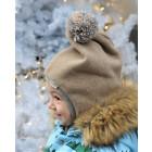 Stilingas patogus HELMET rudeninis žieminis egipto vilnelės vaikiškas šalmukas su bumbulu Smėlis