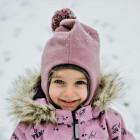 Stilingas patogus HELMET rudeninis žieminis moheros vaikiškas šalmukas su bumbulu Pelenų Rožė