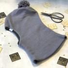 Stilingas patogus HELMET rudeninis žieminis moheros vilnos vaikiškas šalmukas su bumbulu pilkas