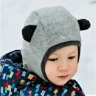 Stilingas patogus HELMET rudeninis žieminis vilnonis vaikiškas šalmukas su ausytėm Šviesiai Pilkas