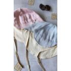 TRENDY vasarinė vaikiška kepurė su snapeliu , raišteliais ir kaklo apsauga (minkštinto lino) - rožinė