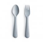 Mushie vaikiškas įrankių komplektas - šakutė ir šaukštas - melsvas, Debesėlis