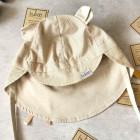 BEAR vasarinė vaikiška kepurė su snapeliu , raišteliais ir kaklo apsauga (100% medvilnė) - rudi dryžiukai