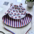 BEAR summer kids beanie with visor, laces and neck protection (100% cotton) - ship