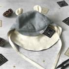 vasarinė vaikiška kepurė su snapeliu , raišteliais ir kaklo apsauga minkštinto lino pilka