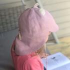 Vasarinė vaikiška kepurė su snapeliu , raišteliais ir kaklo apsauga minkštinto lino rožinė