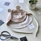 BEAR vasarinė vaikiška kepurė su snapeliu , raišteliais ir kaklo apsauga (100% medvilninė) pudra