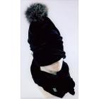 SCREW POMPOM dviguba veliūrinė kepurė anglis su šviesiu kailio bumbulu juoda