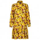 Įspūdinga moteriška raštuota suknelė su dirželiu BARSELONA geltona su burgundiškomis gėlėmis