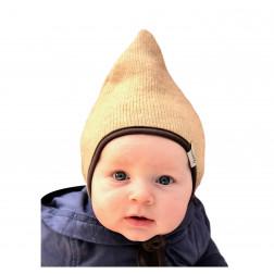 Vaikiška dviguba kepurė su raišteliais rudeniui/žiemai DROP Smėlis
