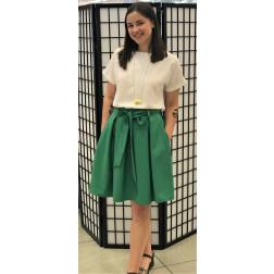 Įspūdingas moteriškas lino/viskozės žalias sijonas TAHO