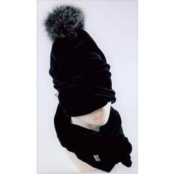SCREW POMPOM dviguba veliūrinė kepurė anglis su šviesiu kailio bumbulu, juoda